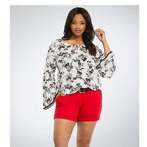 Torrid floral gauze crochet top bell sleeve size 5